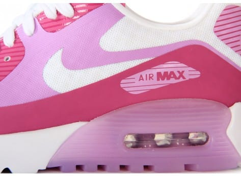 Chaussures Nike Air Max 90 Ultra Br Blanche Rose vue dessus