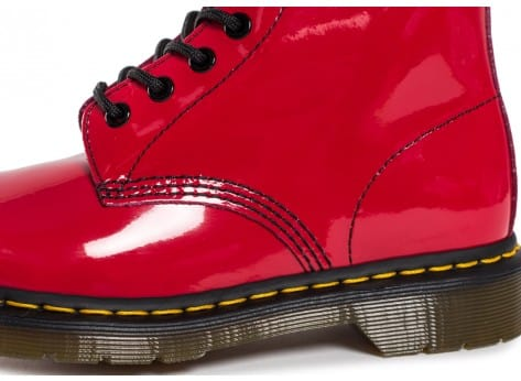 Chaussures Dr Martens 1460 rouge vernis vue dessus