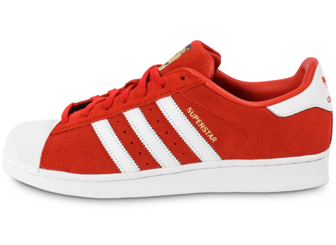Chaussures adidas Superstar Suede rouge et blanche vue avant