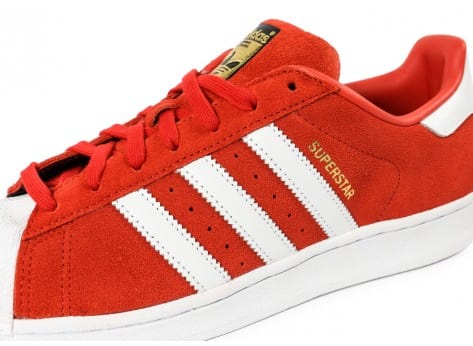 Chaussures adidas Superstar Suede rouge et blanche vue intérieure