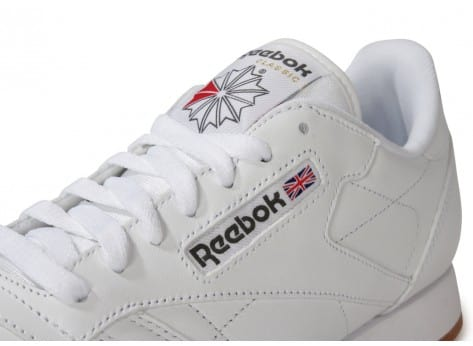 Chaussures Reebok CLASSIC LEATHER BLANCHE GUM vue dessus
