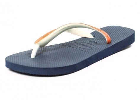 Chaussures Havaianas Tongs Top Mix bleues et orange vue avant
