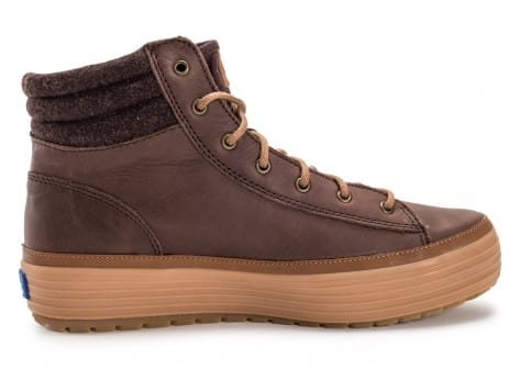 Chaussures Keds high Rise Leather Wool marron vue arrière