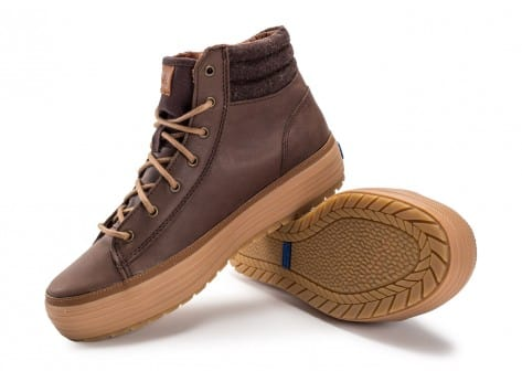 Chaussures Keds high Rise Leather Wool marron vue avant