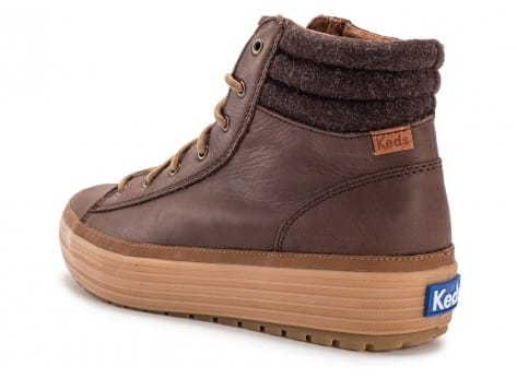 Chaussures Keds high Rise Leather Wool marron vue dessous