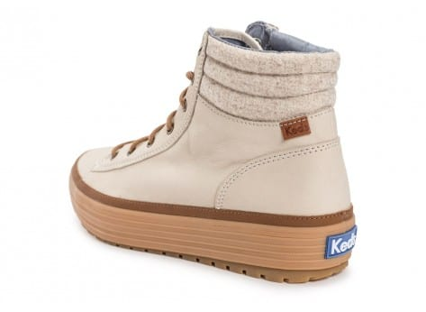 Chaussures Keds high Rise Leather Wool beige vue arrière
