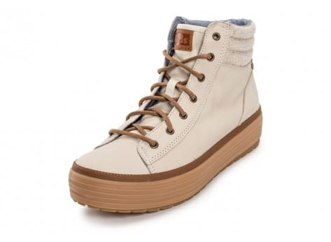 Chaussures Keds high Rise Leather Wool beige vue avant