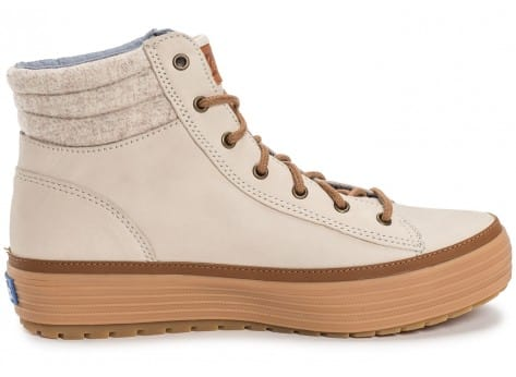 Chaussures Keds high Rise Leather Wool beige vue dessous