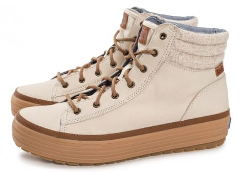 Chaussures Keds high Rise Leather Wool beige vue extérieure