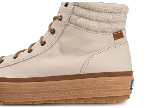 Chaussures Keds high Rise Leather Wool beige vue dessus