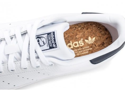 Chaussures adidas Stan Smith Woven blanche et bleue vue dessus