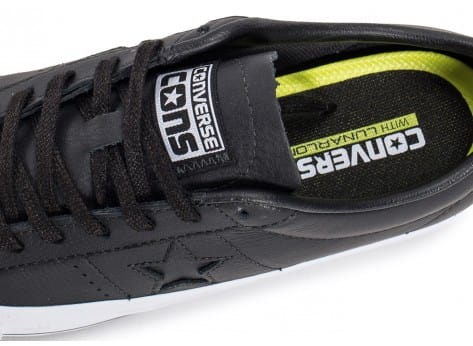 Chaussures Converse One Star Leather noire vue dessus