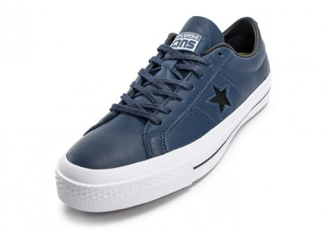 Chaussures Converse One Star Leather bleu marine vue avant