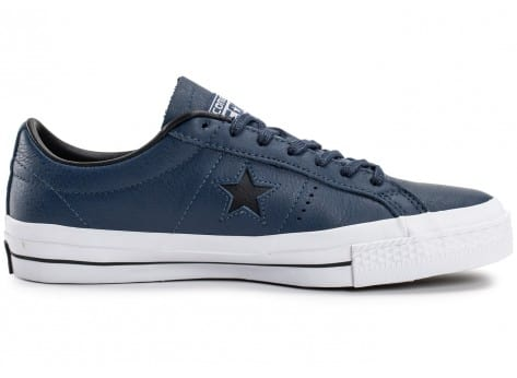 Chaussures Converse One Star Leather bleu marine vue dessous