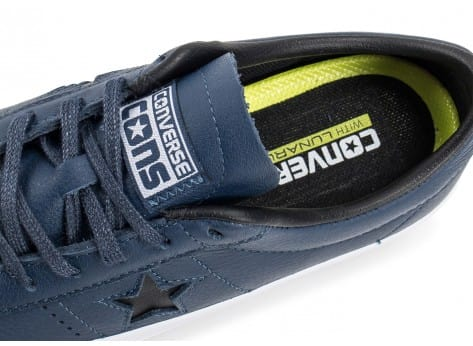 Chaussures Converse One Star Leather bleu marine vue dessus