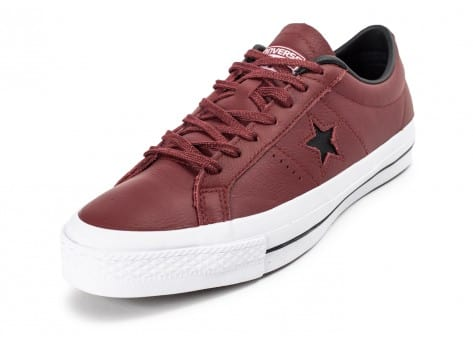 Chaussures Converse One Star Leather Bordeaux vue avant