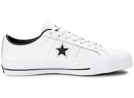 Chaussures Converse One Star Leather Blanche vue dessus