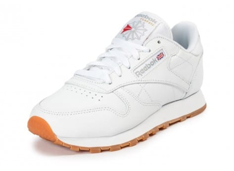 Chaussures Reebok Classic Leather W Gum blanche vue avant