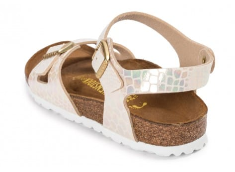Chaussures Birkenstock Rio Shiny Snake cream vue arrière