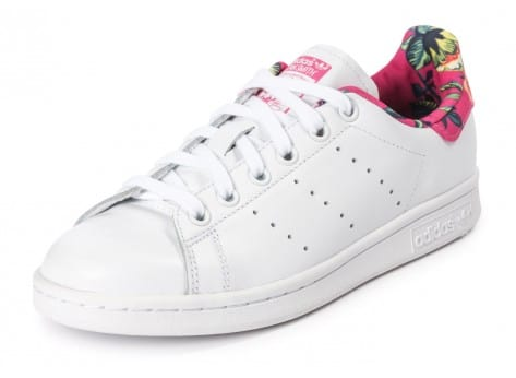 Chaussures adidas Stan Smith Floral blanche vue arrière