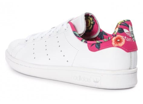 Chaussures adidas Stan Smith Floral blanche vue avant