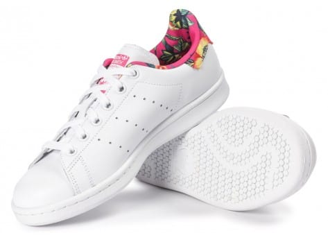 Chaussures adidas Stan Smith Floral blanche vue dessous