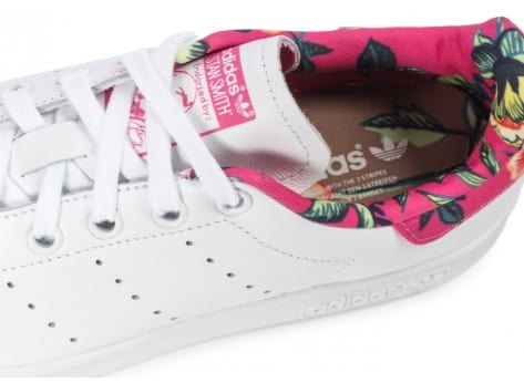 Chaussures adidas Stan Smith Floral blanche vue dessus