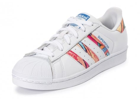 Chaussures adidas Superstar Tropical blanche  vue avant