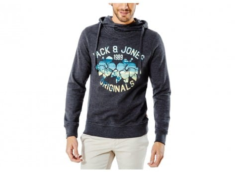 Sweat Jack & Jones Sweat à Capuche Clipped gris anthracite