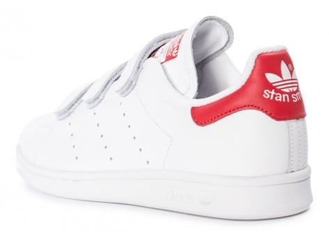 Chaussures adidas Stan Smith CF Velcro blanc rouge vue arrière