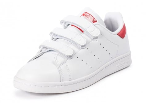 Chaussures adidas Stan Smith CF Velcro blanc rouge vue avant