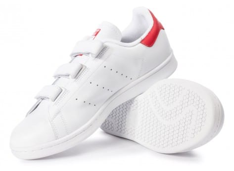 Chaussures adidas Stan Smith CF Velcro blanc rouge vue intérieure