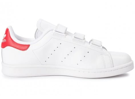 Chaussures adidas Stan Smith CF Velcro blanc rouge vue dessous