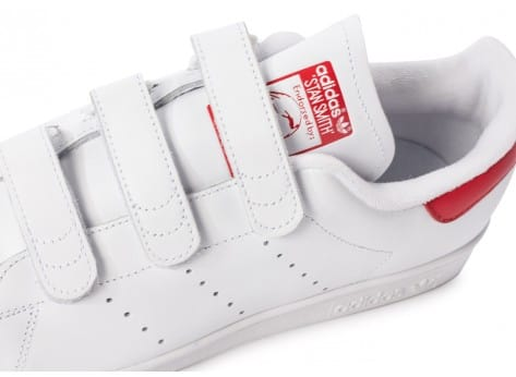 Chaussures adidas Stan Smith CF Velcro blanc rouge vue dessus