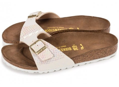 Chaussures Birkenstock Madrid Shiny Snake cream vue extérieure