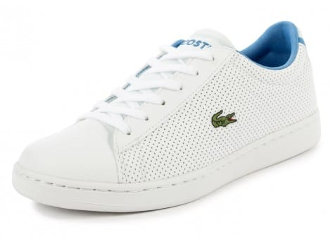 Chaussures Lacoste Carnaby Evo Junior blanche et bleue vue avant