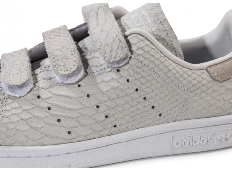 Chaussures adidas Stan Smith Cf Velcro grise vue dessus
