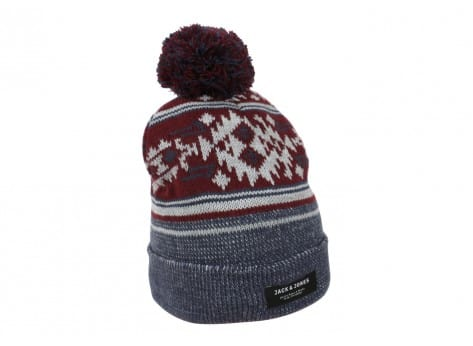 Bonnets Jack & Jones Bonnet Native bleu et bordeaux