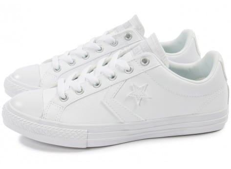 converse star player cuir blanche chaussures enfant. Black Bedroom Furniture Sets. Home Design Ideas