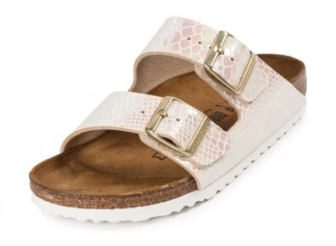 Chaussures Birkenstock Arizona Shiny Snake cream vue avant