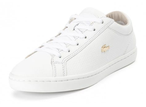 Chaussures Lacoste Straightset blanche et or vue avant