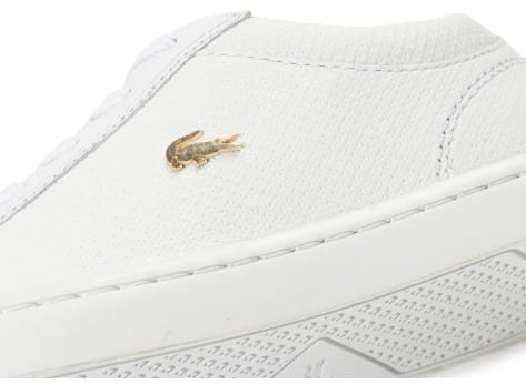 Chaussures Lacoste Straightset blanche et or vue dessus