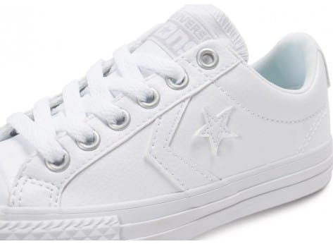 Chaussures Converse Star Player Enfant Cuir blanche vue dessus