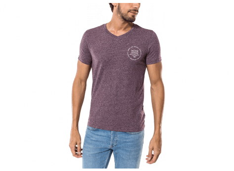 Tee-shirt Jack & Jones T-Shirt Eighty V Neck bordeaux