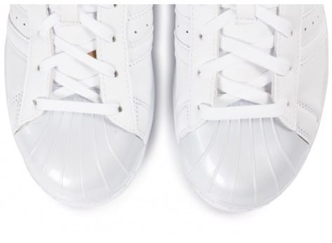 Chaussures adidas Superstar Glossy Toe blanche vue dessus