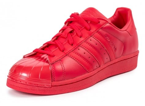 Chaussures adidas Superstar Glossy Toe rouge vue avant