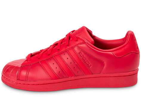 Chaussures adidas Superstar Glossy Toe rouge vue arrière