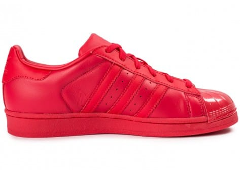 Chaussures adidas Superstar Glossy Toe rouge vue dessous