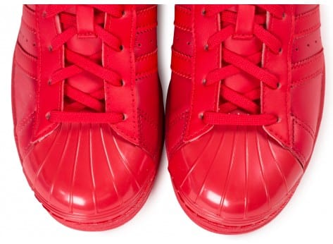 Chaussures adidas Superstar Glossy Toe rouge vue dessus