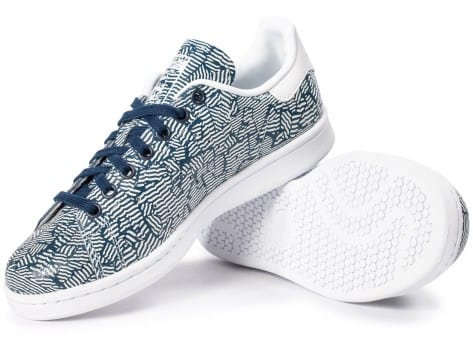 Chaussures adidas Stan Smith Print bleue vue intérieure